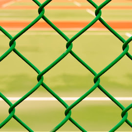 No Tennis Today by Del Candler - Abstract Patterns ( fence, orange, green, empty, white, diagonal, tennis court, chain link )