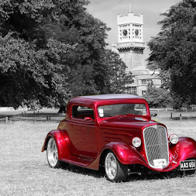 Old Red by Peter Parker - Transportation Automobiles ( car, tower, shuttleworth, red, vintage, clock )