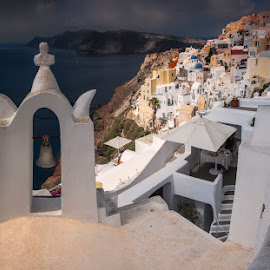 City of Oia by Krasimir Lazarov - City,  Street & Park  Vistas ( greece, city, buildings, cityscape, tourism, santorini, landscape, architecture )