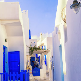 Venice District, Mykonos by Dan Herman - City,  Street & Park  Historic Districts ( venice district, mykonos, blue, greece )