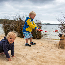On The Beach by Geoffrey Wols - Babies & Children Toddlers ( playing, sand, children, beach, kids, dog )