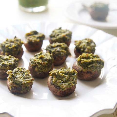 Vegan Pesto Stuffed Mushrooms