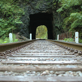 Natural Tunnel Two by Mike Rushing - Transportation Railway Tracks ( railroad, natural tunnel, cave )