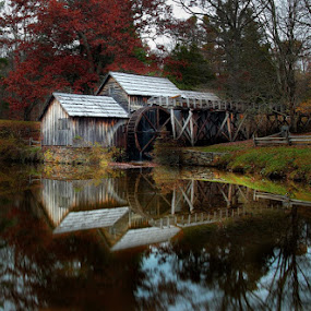 Mabry Mill Reflection by Forest Wander - Landscapes Travel ( mabry mill, blue ridge parkway, morning )
