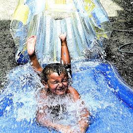 Making A Big Splash.... by Melanie Goins - Babies & Children Children Candids ( water, splash, weather, summer, boy )