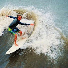 Wave Rider by Prentiss Findlay - Sports & Fitness Surfing ( surfing, waves, ocean, beach, surfing waves )