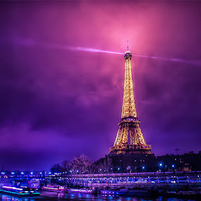 Foggy Paris by Mike Kremer - Buildings & Architecture Statues & Monuments ( seine, paris, famous landmarks, nightshot, ekimpix, night )