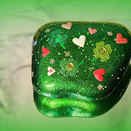 Luck And Hearts by Becky Luschei - Artistic Objects Other Objects ( st. patrick's day, love, luck, hearts, whidbey island rock )