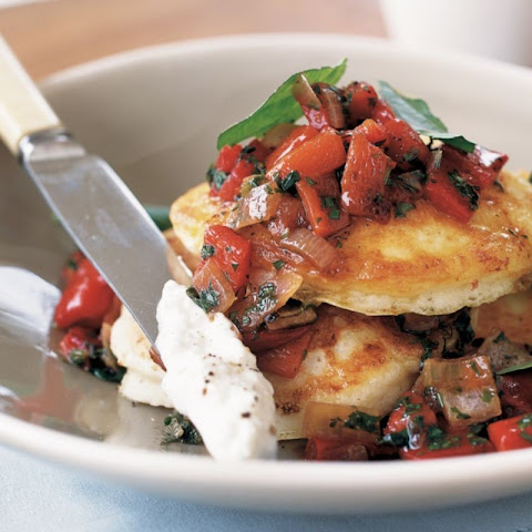 Cottage Cheese Pancakes With Roasted Capsicum Salsa (low-fat)