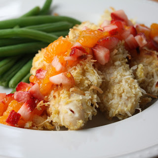 Baked Coconut-Crusted Chicken Tenders with Fruit Salsa
