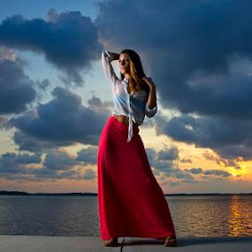 Carol at dusk by Drew Tarter - People Fashion ( clouds, fashion, sunset, women, portrait )