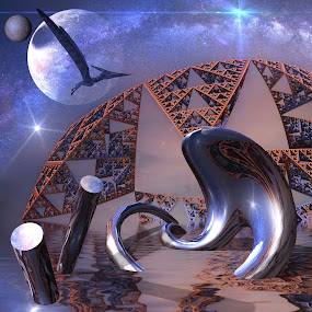 Sierpinski World by Pam Blackstone - Illustration Sci Fi & Fantasy ( reflection, moon, galaxies, dome, pterodactyl, sphere, space, rendered art, 3d fractal, milky way, planet, objects, holes, water, purple, matter, cylinder, sci-fi, organic, dinosaur, blue, 3d, triangles, stars, sierpinski triangles, 3d art, fractal,  )