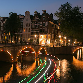 Amsterdam canals by Natalia Photography - City,  Street & Park  Night ( discover, green, reflection, explore, city, amsterdam, night, yellow, canon70d, long exposure, canon, travel photography, red, light, canal, river, photography, architecture )