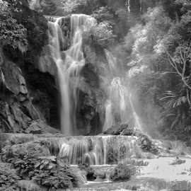 Kuang Zi waterfall Laos by Katherine Rynor - Black & White Landscapes ( laos, black and white, waterfall, landscape, sun rays )