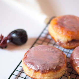Doughnuts with Cream Cheese Caramelized Fig Filling & Hibiscus Glaze