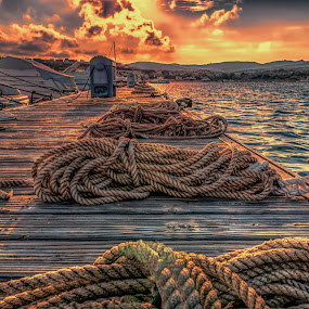 Gangway by Maurizio Mameli - Landscapes Waterscapes ( sky, sardinia, sunset, cloud, seascape, boat, landscape, wharf, gangway, sun )