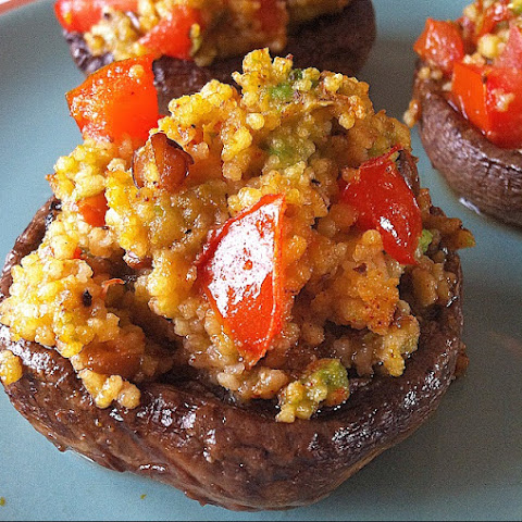 Avocado and Couscous Stuffed Mushrooms