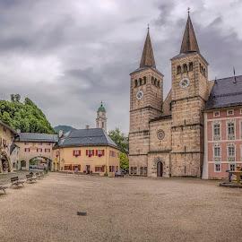 Berchtesgaden by Ole Steffensen - City,  Street & Park  Street Scenes ( church, bavaria, germany, plaza, berchtesgaden )