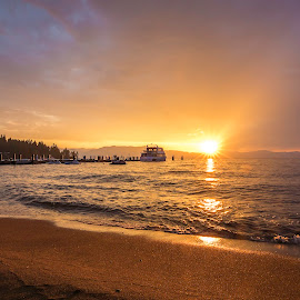 Lake Tahoe Golden Hour by Angel McNall - Landscapes Beaches ( jet skiis, lake tahoe sunset, boats, marina, golden sunset, lake tahoe, golden hour )