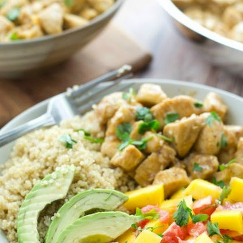 Honey Mustard Chicken Quinoa Bowls with Mango-Citrus Salsa