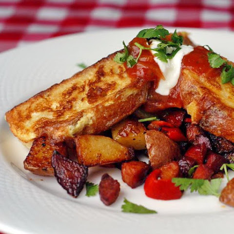 Chorizo Hash Browns with Spicy French Toast