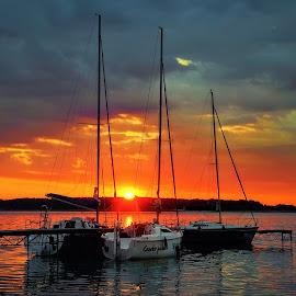 ... by Tomasz Marciniak - Transportation Boats ( boats, lake, sunrise )