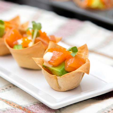 Mini Salmon Wonton Cups
