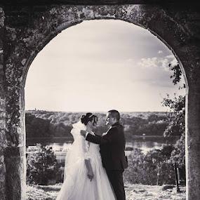 O&M BW by Vlada Jovic - Wedding Bride & Groom ( black and white, wedding, romantic, bride and groom, bride )