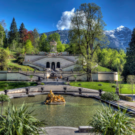 Linderhof Palace & Grounds by Elk Baiter - City,  Street & Park  Fountains ( linderhof palace, bavaria, germany, king ludwig ii )