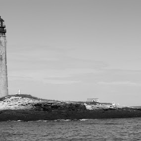 A light in the Darkness by Nick Massar - Buildings & Architecture Other Exteriors ( water, unique, maine, black and white, lighthouse, nickolasmassar, landscape )