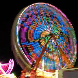 Ferris Wheel by Hal Gonzales - Abstract Patterns ( patterns, spinning, colors, blocks, ferris wheel )