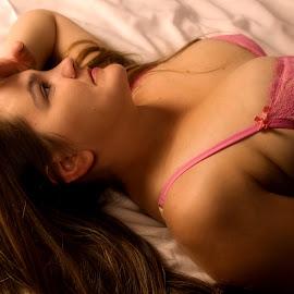 longing by Laura Burnett - Nudes & Boudoir Boudoir ( boudoir, bed, pink, pretty, nudes )
