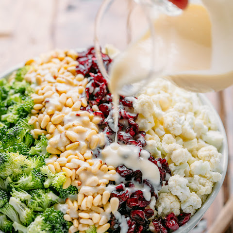 Broccoli Cauliflower Salad with Creamy Honey Lemon Dressing
