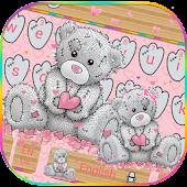 Free Download Teddy Bear Keyboard Theme Cute Bear in love APK for Samsung