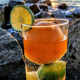 { Tropical fruit drink ~ on The Rocks @ Sunset } by Jeffrey Lee - Food & Drink Fruits & Vegetables ( { tropical fruit drink ~ on the rocks @ sunset } )