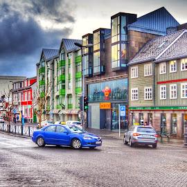 Downtown Reykjavik by Alex Mednick - City,  Street & Park  Street Scenes
