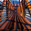 Inward Mobility by Gary Piazza - Buildings & Architecture Bridges & Suspended Structures ( sony, patterns, pedestrian, sunset, lines, walkway, bridge, steel, dock )