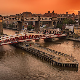 Swing Bridge Sunset by Davey T - Buildings & Architecture Public & Historical ( river tyne, quayside, sunset, tyneside, newcastle, north tyneside, evening, swing bridge )