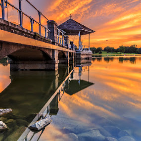 Under the Fiery Sky by CK Lam - City,  Street & Park  City Parks ( reservoir, reflection, shelter, park, lower pierce reservoir, fiery sky, dramatic, city park, singapore )