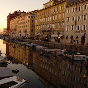 Trieste by Gabrielle Phillips - Landscapes Waterscapes ( trieste, waterscape, cityscape, italy, canal, pwcreflections-dq )
