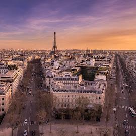 Eiffel Tower  by Walid Ahmad - City,  Street & Park  Skylines ( paris, eiffel tower, sunset, cityscape, travel, photography )