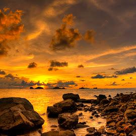 Golden rocks by Richard ten Brinke - Landscapes Sunsets & Sunrises