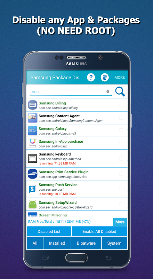 App Package Disabler (Samsung) Screenshot 2