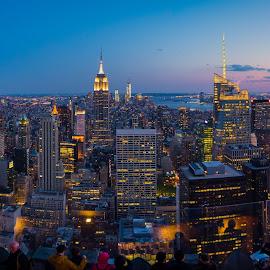Top of the Rock at Sunset by Tom Baker - City,  Street & Park  Skylines ( manhattan skyline, new york skyline, empire state building, manhattan, new york city )