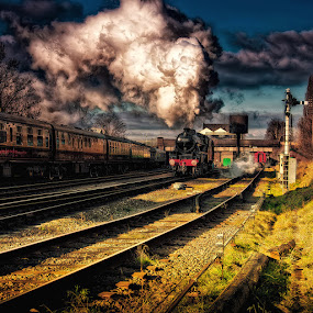 Evening Express by Martin Crush - Transportation Trains ( clouds, canon, lucis pro 6, crush photojournalism, hdr, crush, textures, photojournalism, wildlife, landscape, photography, flickr, nature, steam trains, scenery, nikon, flowers, mist )