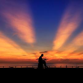 Light of Wisdom by Komkrit Charoen - Landscapes Sunsets & Sunrises ( dawn, sunrise, songkhla, landscape )