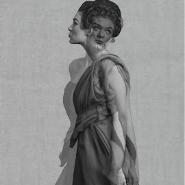 Kriszta by Klárik Loránd - Digital Art People ( fashion, girl, multiple photography, grey, ghost )