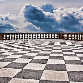 TERRAZZA MASCAGNI by Gianluca Presto - Buildings & Architecture Other Exteriors ( clouds, mascagni terrace, tuscany, toscana, black and white, chess, cloudscape, architectural detail, architecture, terrace, italia, mascagni, architectural, cloudy, livorno, italy, terrazza mascagni )