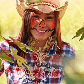 Autumn's Harvest by Stephanie Simmons - People Portraits of Women ( autumn, scarecrow, harvest, garden, portrait )