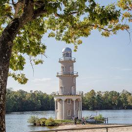 Lake Lenape by Laura Gardner - Novices Only Landscapes ( water, lake lenape, outdoors, fall, light house, nj )